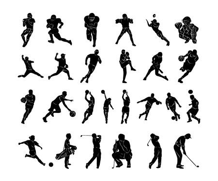 Zestaw kolekcji sportowców. Ilustracji wektorowych.