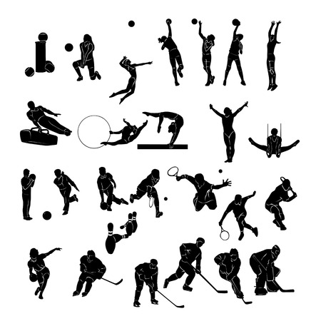 Set of Sports people Silhouettes collection. Vector Illustration.