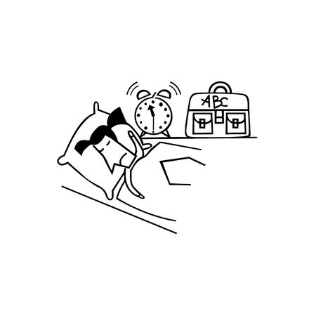 Cartoon character, Businessmen do not wake up from the sound of the alarm clock. Illustration
