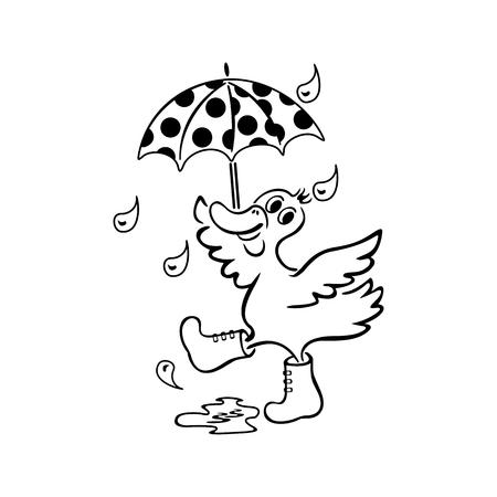Duck with an umbrella vector