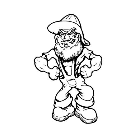 Muscular viejo personaje de dibujos animados ilustración vectorial.