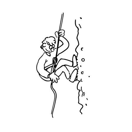 암벽 등반 소년 윤곽선 만화 손으로 그린 된 스케치 그림 벡터.