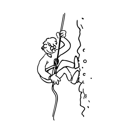 Rock Climbing boy outlined cartoon hand drawn sketch illustration vector.