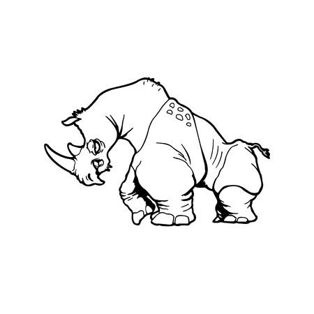 サイ。動物漫画のキャラクター。ベクトルの図。