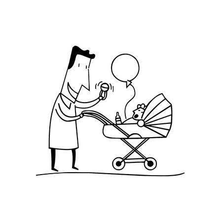 Dad playing with baby outlined cartoon hand drawn sketch illustration vector. Illustration