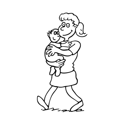Mother holding a baby outlined cartoon hand drawn sketch illustration vector. Illustration