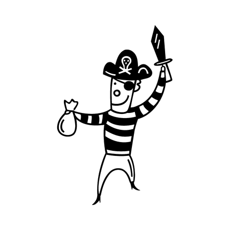 Pirate outlined cartoon hand drawn sketch illustration vector.