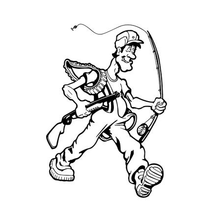 Hombre cazando peces y pájaros. personaje animado . Ilustración vectorial Foto de archivo - 81123303