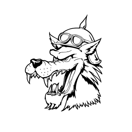 オオカミの頭。動物漫画のキャラクター。ベクトルの図。