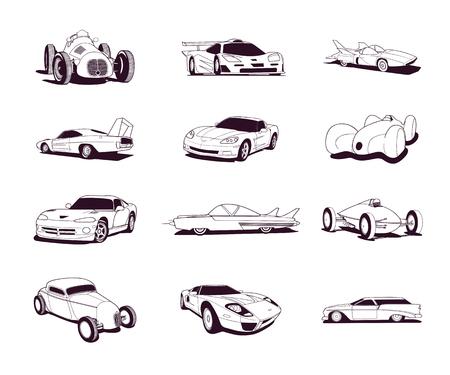 Sport old fast cars clip art cartoon collection. Illusztráció