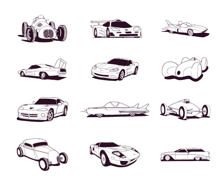 Sport old fast cars clip art cartoon collection. Illustration