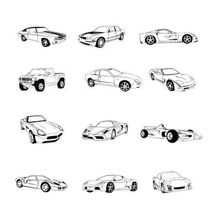 스포츠 오래 된 빠른 자동차 클립 아트 만화 컬렉션입니다. 벡터 일러스트 레이 션. 컬렉션 집합