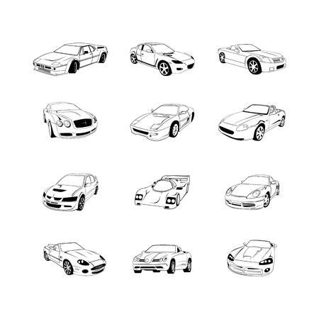 오래 된 빠른 자동차 클립 아트 만화 컬렉션