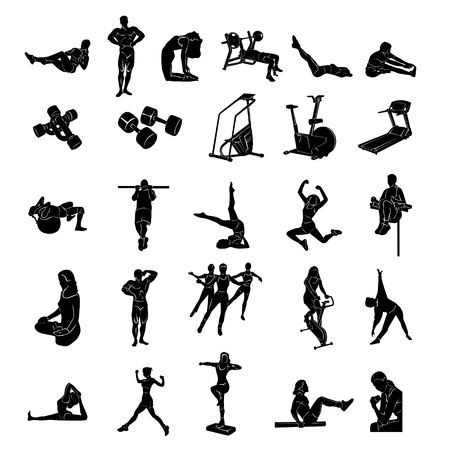 Fitness people silhouette Vector Illustration Vettoriali
