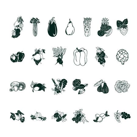 Fruit vegetable cartoon collection set Фото со стока - 81123353
