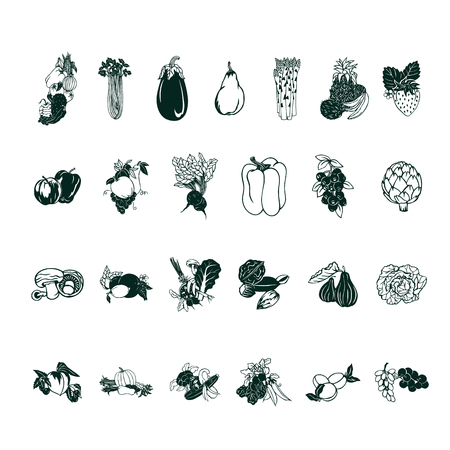 Fruit vegetable cartoon collection set Illustration