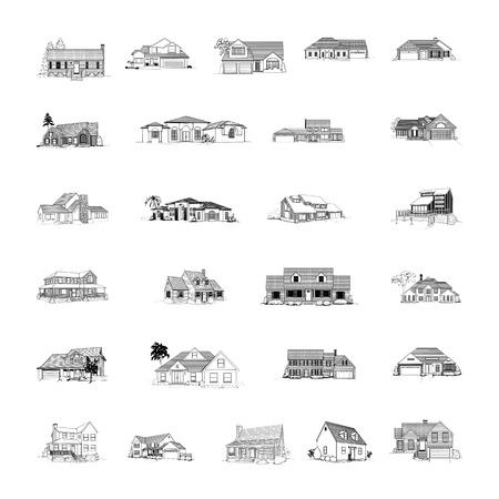 建物は漫画クリップアート コレクションです。ベクトル イラスト.コレクション セット