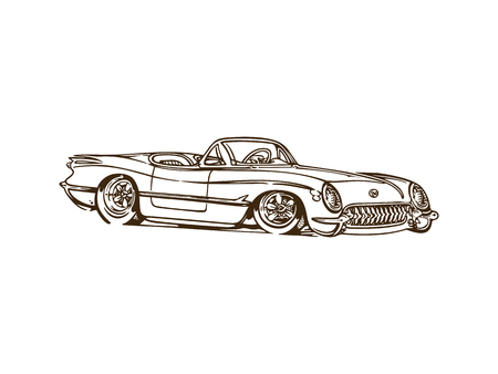 Vintage muscle cars inspired cartoon sketch. Vector abstract old school muscle car. Vector image can be used for posters and printed products. 向量圖像