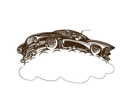Vintage muscle cars inspired cartoon sketch Çizim