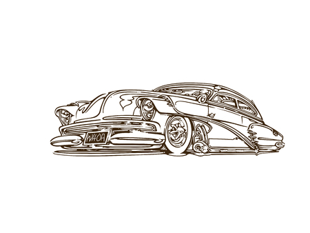Vintage muscle cars inspired cartoon sketch Stock Illustratie