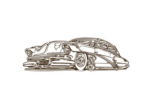 Vintage muscle cars inspired cartoon sketch Illustration