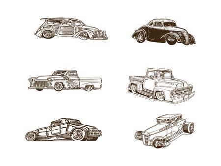 클래식 자동차 만화 클립 아트 컬렉션 일러스트