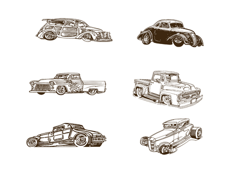 Classic car cartoon clip art collection
