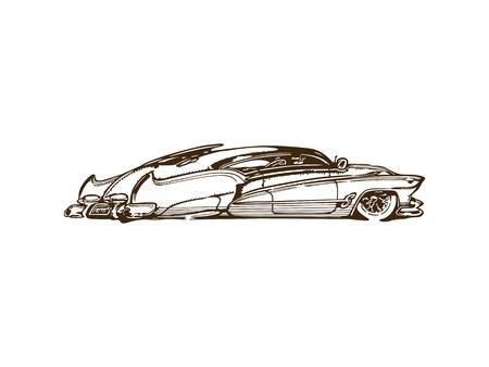 빈티지 근육 자동차 만화 스케치에 영감을 일러스트