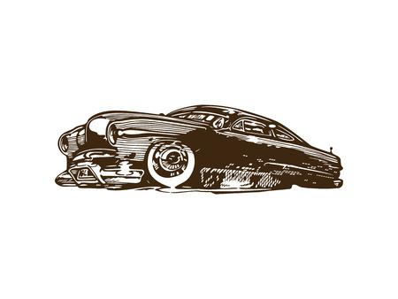 Vintage muscle cars inspired cartoon sketch Stock Illustratie