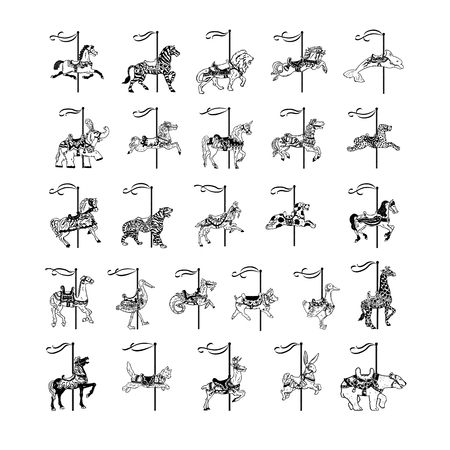 Carousel animal collection set