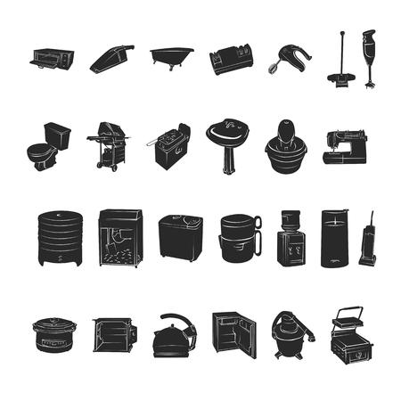 Silhouetten van huishoudelijke apparaten Vectorillustratie