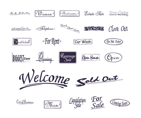 Various advertising sign promotion paint brush typography