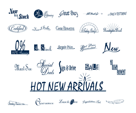 Various advertising sign promotion paint brush typography Collection set Illusztráció