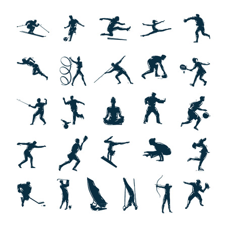 Set of vector silhouettes drawn of people in sport Vector Illustration Çizim