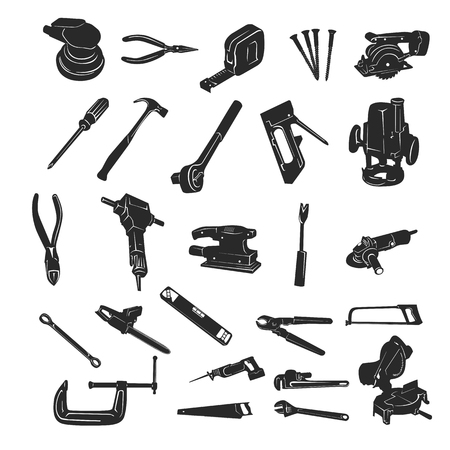 Construction Tool Silhouette Vector collection set. Vector Illustration.. Collection set