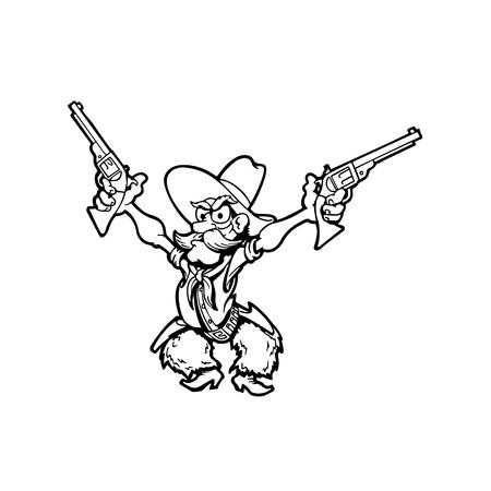 Oude cowboy cartoon karakter vectorillustratie.