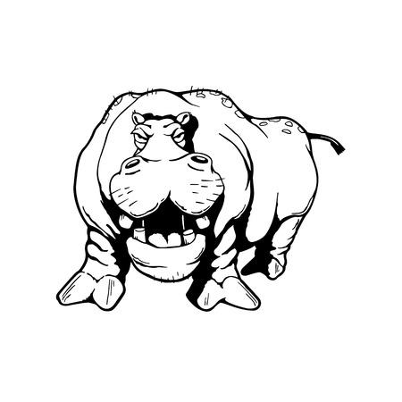 Hippopotamus Animal cartoon character Vector Illustration. Иллюстрация