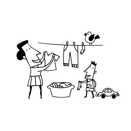 ママの服は、乾燥します。輪郭を描かれた漫画 handrawn スケッチ イラスト。