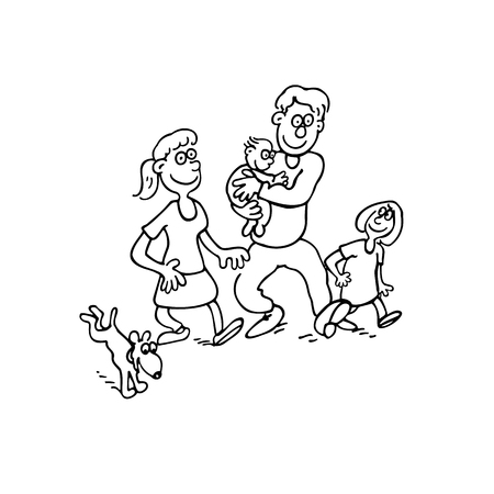 happy family cartoon. outlined cartoon handrawn sketch illustration vector.