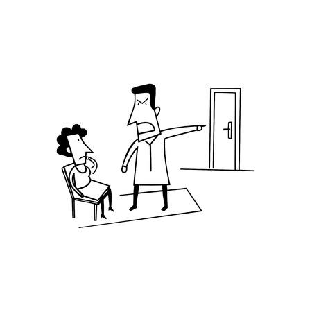 angry boss. outlined cartoon handrawn sketch illustration vector. Иллюстрация