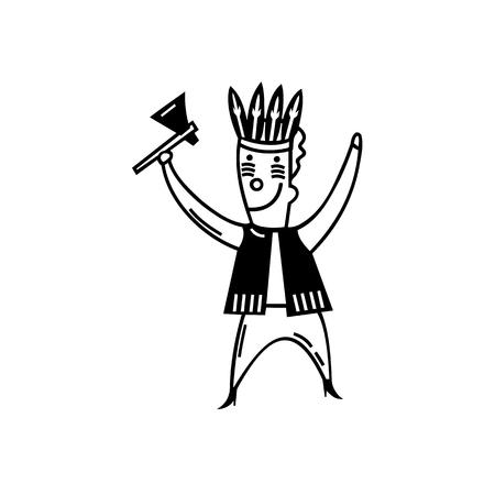 los niños juegan juguetes tradición tribu. dibujo animado handrawn ilustración vectorial boceto.