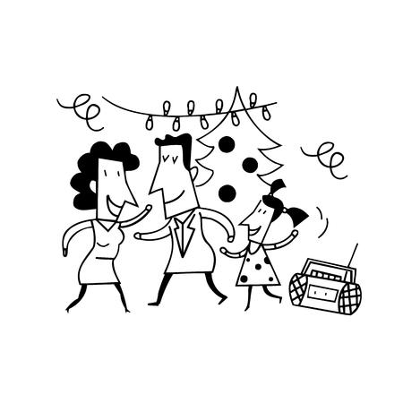 Dessins animés de fête de famille. dessin croquis illustration vecteur Banque d'images - 81127629