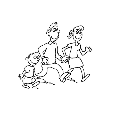 happy family cartoon walking together. outlined cartoon handrawn sketch illustration vector.