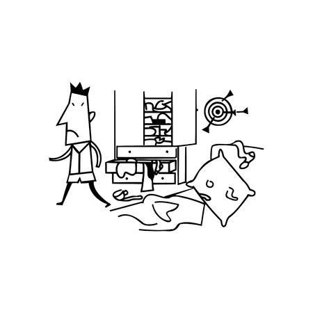 messy room boys illustration cartoon 向量圖像
