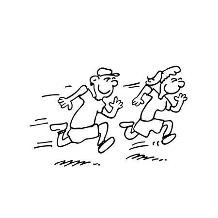実行中の子供漫画イラスト