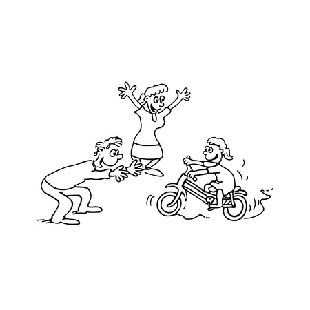 child Learn bike with parent cartoon Illustration