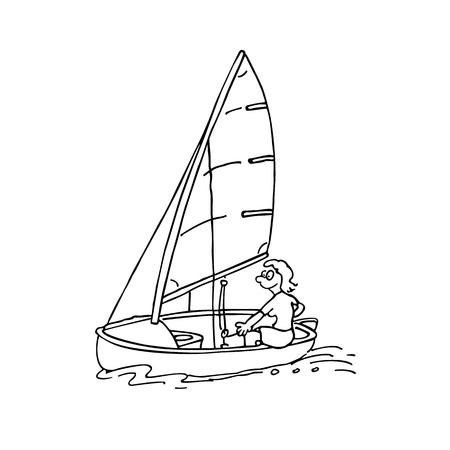 man ride sail. windsurfing cartoon Illustration