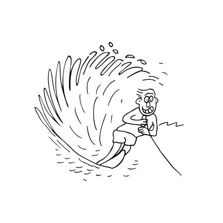 boy surfing cartoon illustration vector Illustration