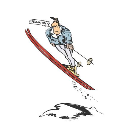 男性スキーヤー ジャンプ漫画イラスト  イラスト・ベクター素材