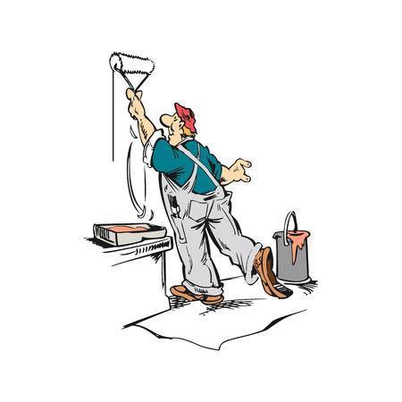 Homme ouvrier peinture mur dessin animé illustration vecteur Banque d'images - 81140726